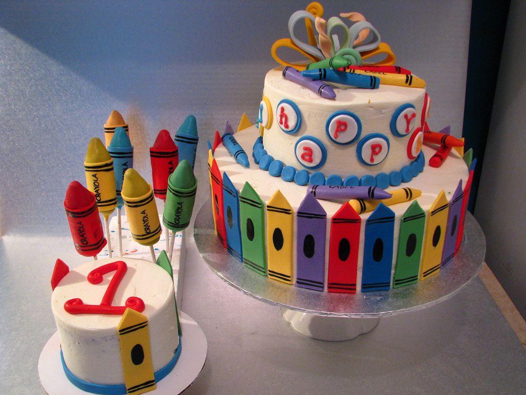Crayon Theme Birthday Cakes Fun Crayon First Birthday