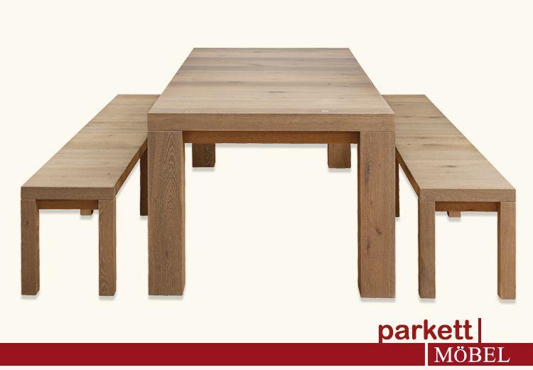 Esstisch + Sitzbänke Mensa ©parkett-AGENTUR