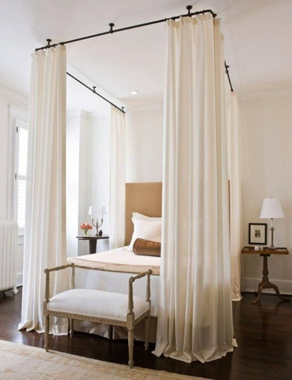 Curtains Ideas curtain rod canopy bed : 17 Best images about Bedroom makeover on Pinterest | Queen ...