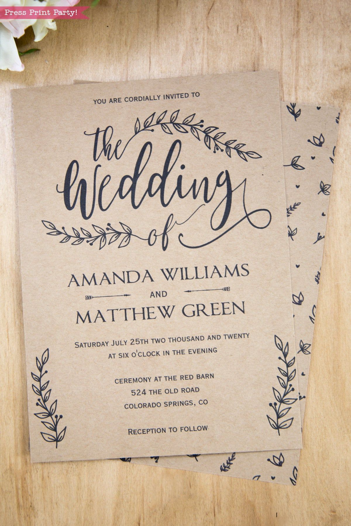 Rustic Wedding Invitation Template Printable Set Wedding  Etsy