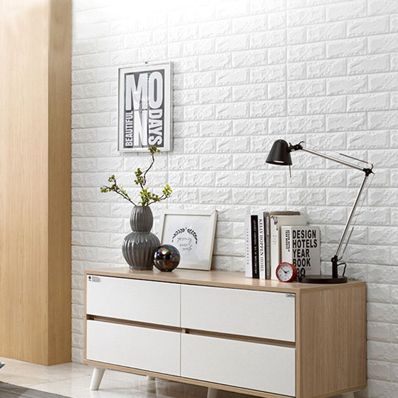 2.6' x 2.3' Peel and Stick 3D Wall Panels White Brick