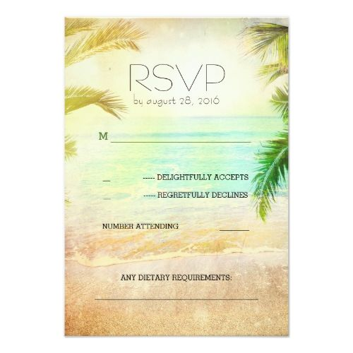 sunset beach romantic wedding RSVP cards Destination wedding
