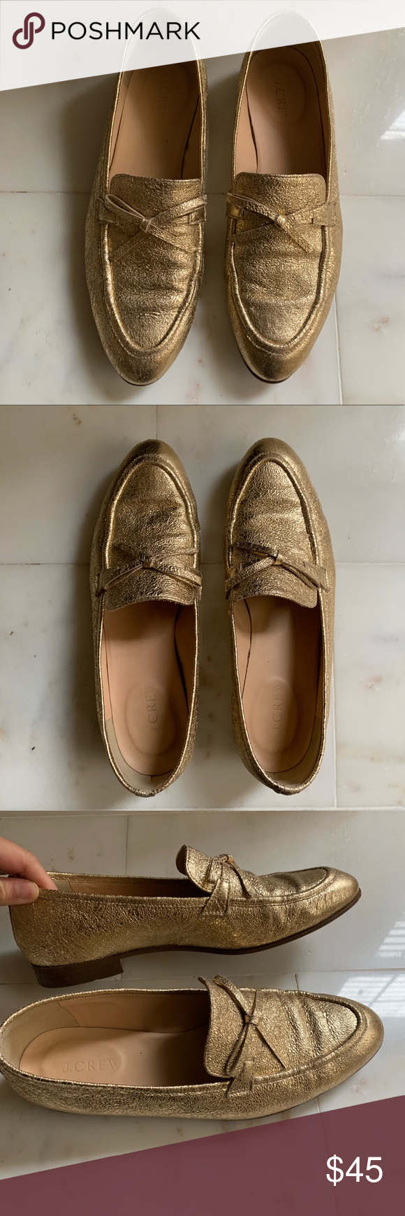 634d01c4f58 J Crew Academy Loafers Gold loafers. So comfy. Good used condition ...
