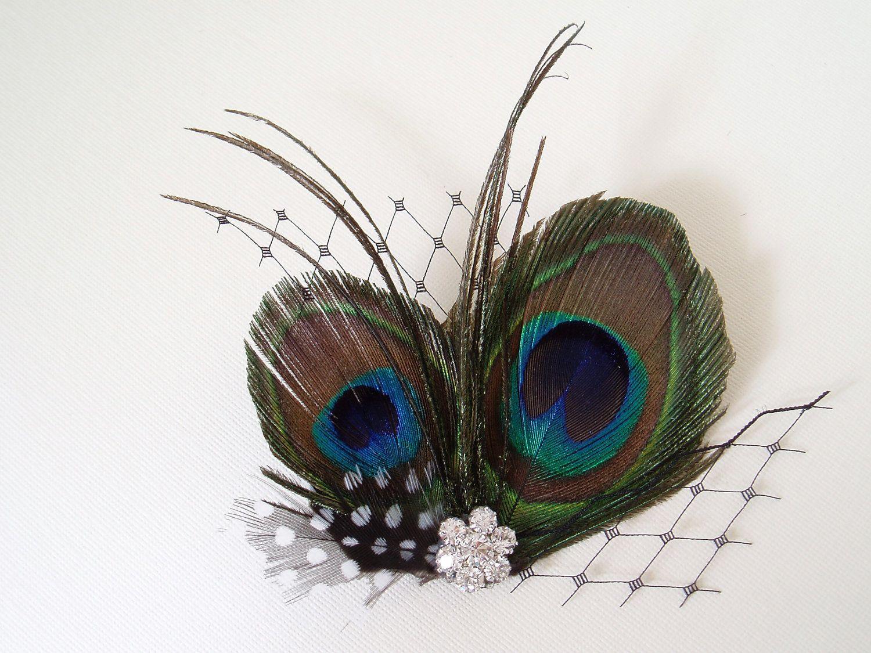 Peacock Bridal Shower Accessories Bridal Hair Clip Peacock