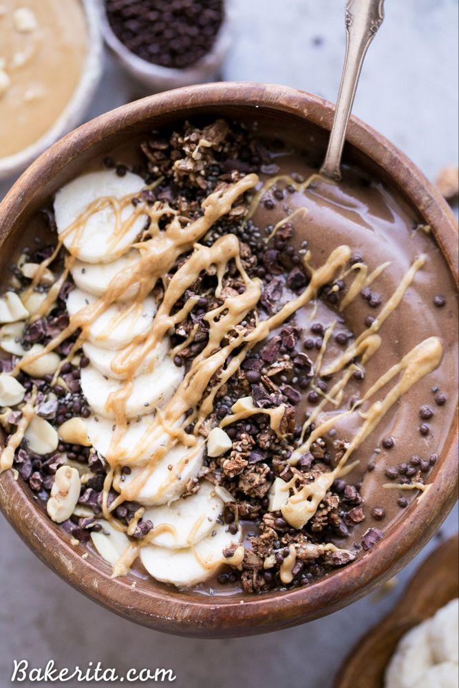 Chocolate Peanut Butter Banana Smoothie Bowl • Bakerita