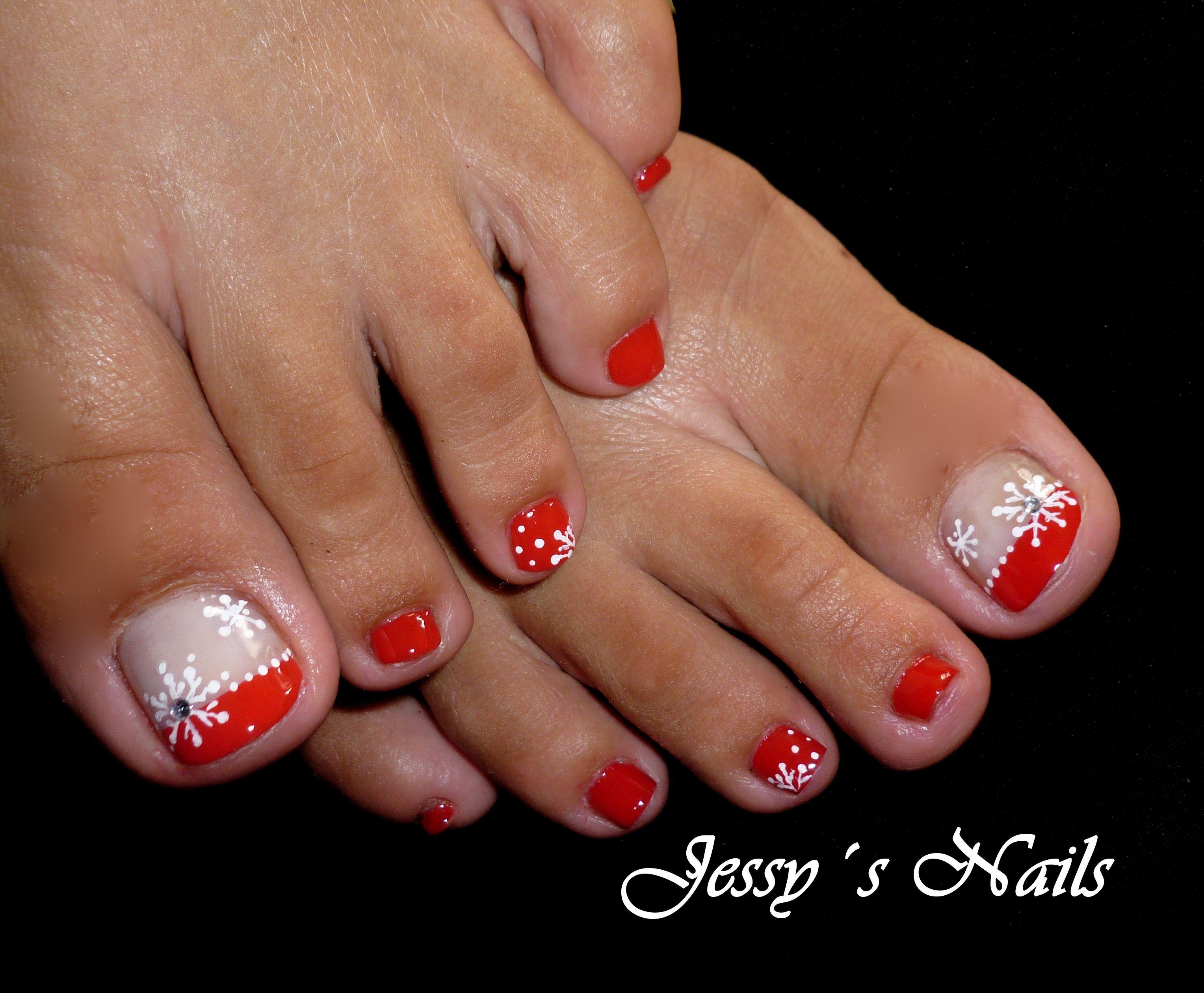 U as navide as para pies u as pies navidad nailart u as - Unas de pies decoradas ...