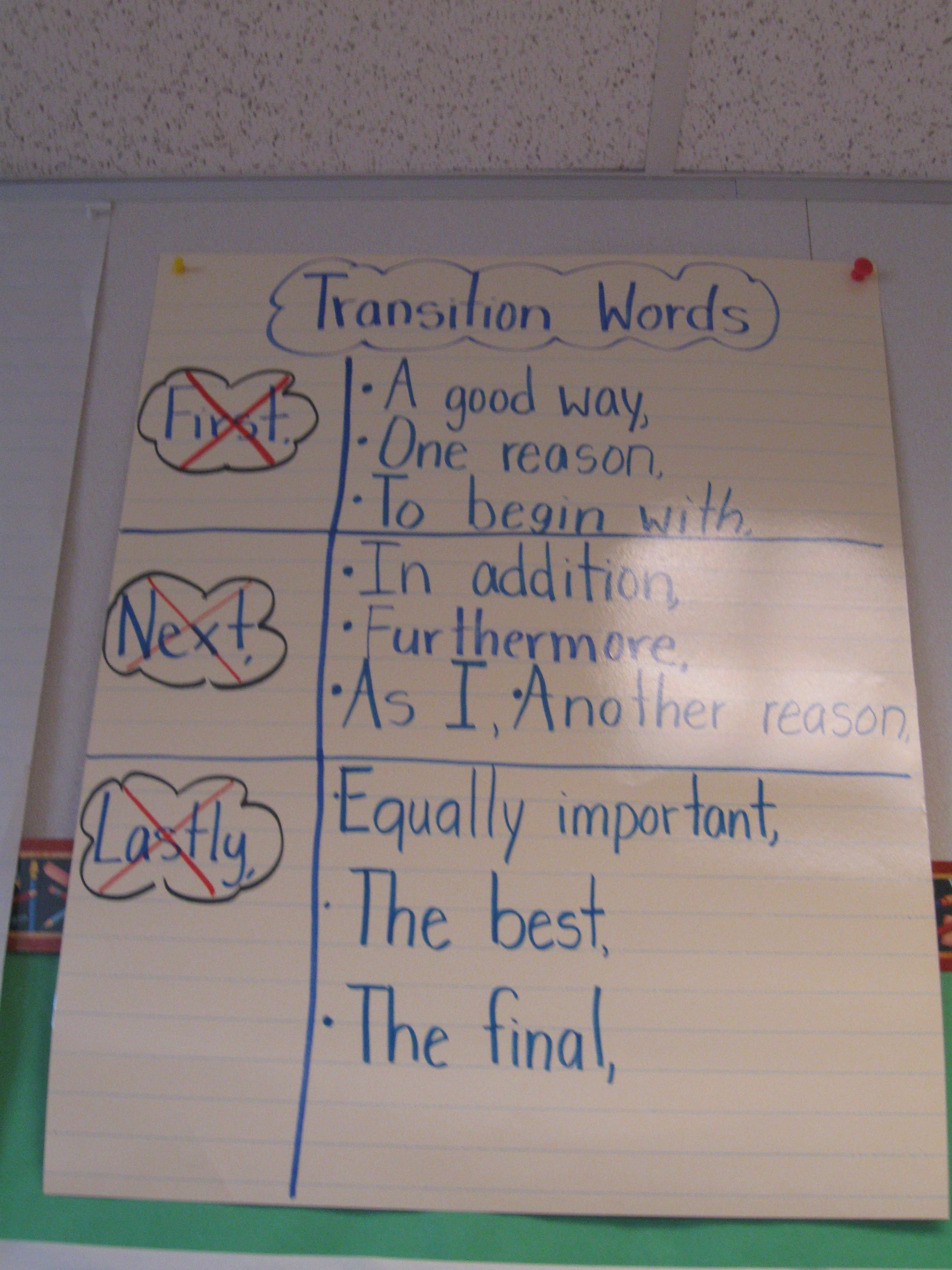 Transitional Words For My 2nd Graders