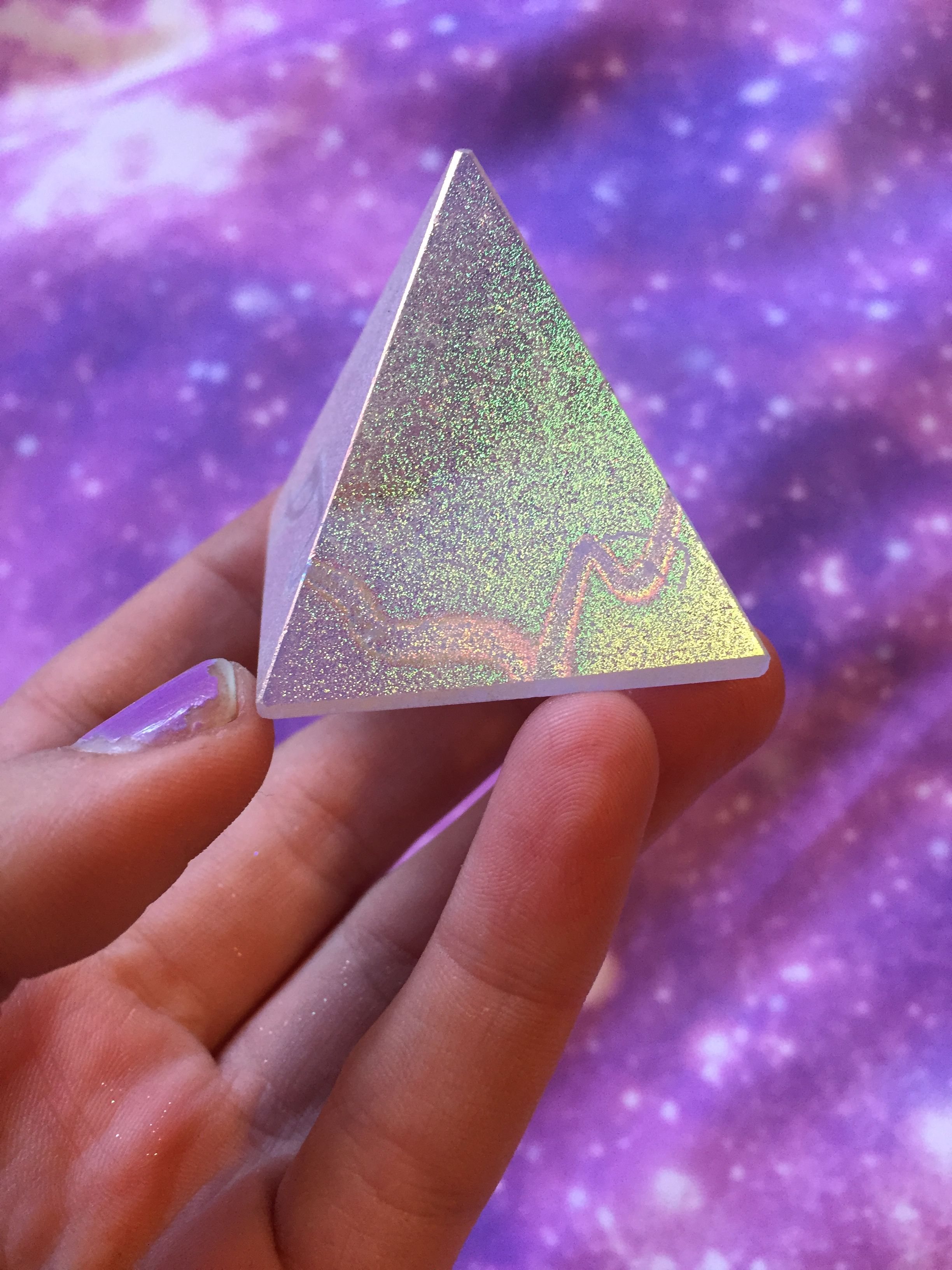 Sparkle Aura Pyramid altar display leaves reminense of faerie dust in your hands