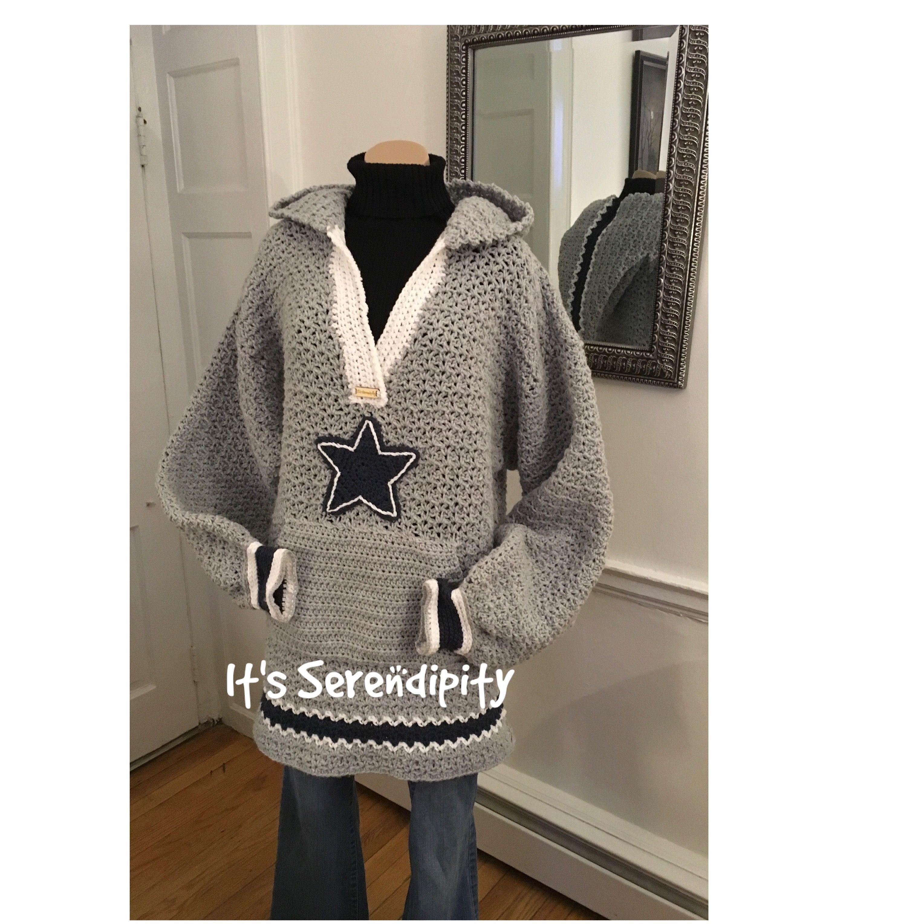 big sale 2602f 6f889 Crochet pullover hoodie, Dallas Cowboys size 2XL pattern ...