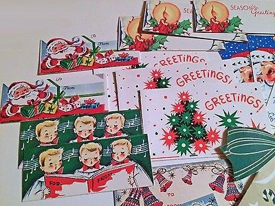 Unused CHRISTMAS GIFT Tags Vintage 1950\u0027s Bells Santa Choir Kids