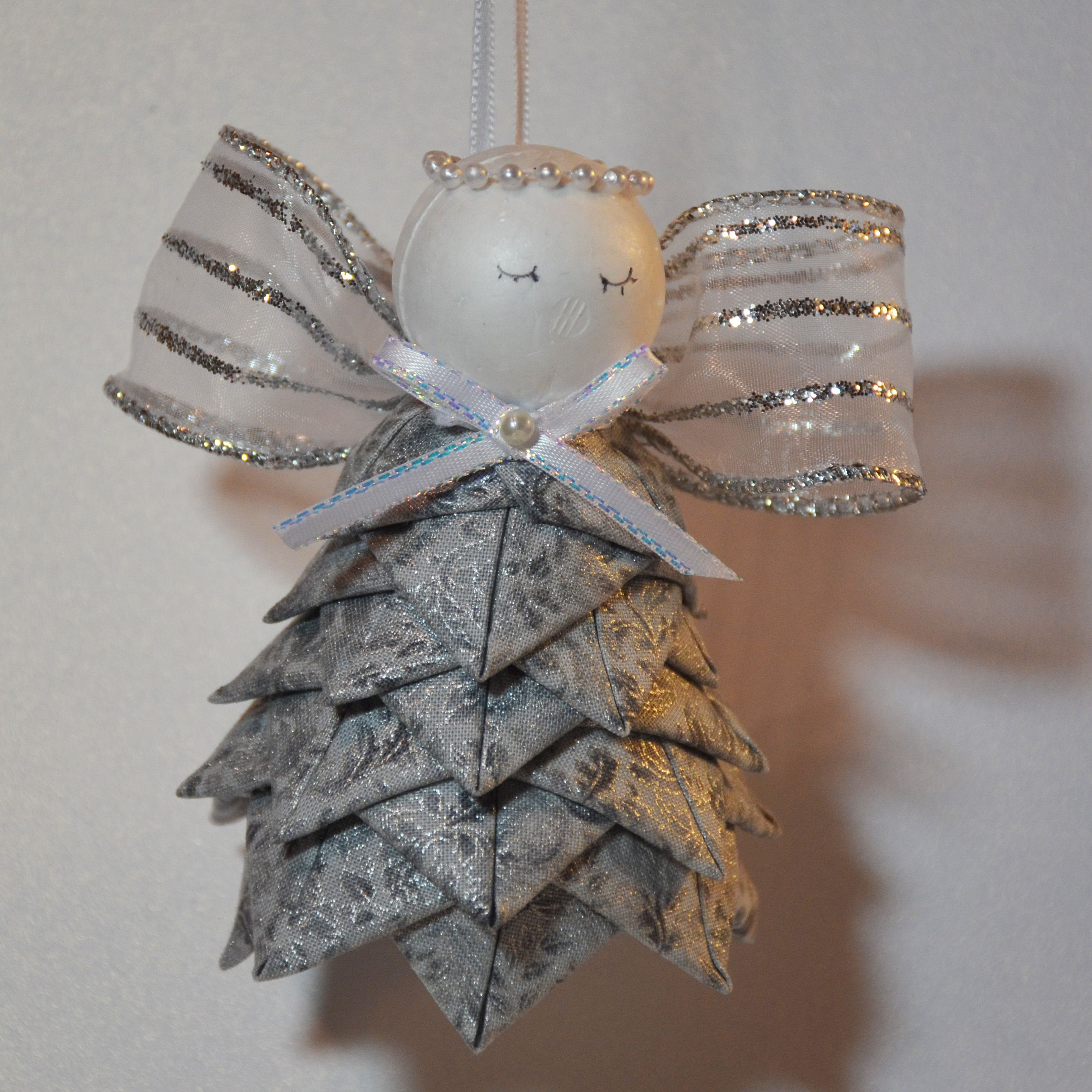 Quilted Ornament Angel Done In Silver Quilted Christmas Ornaments Fabric Ornaments Folded Fabric Ornaments
