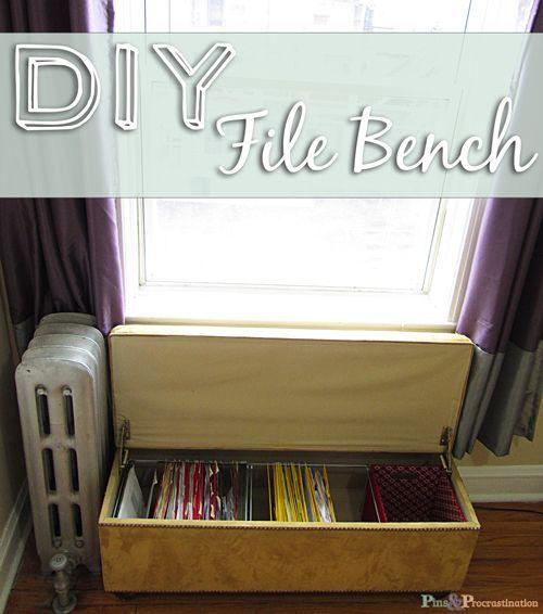 Diy File Bench Diy Storage Bench Diy Storage Guest Room Office