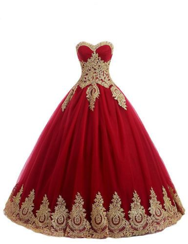 147e502d719 Red and Gold Applique Prom Party Formal Ball Gown Sweet 16 Quinceanera  Dresses