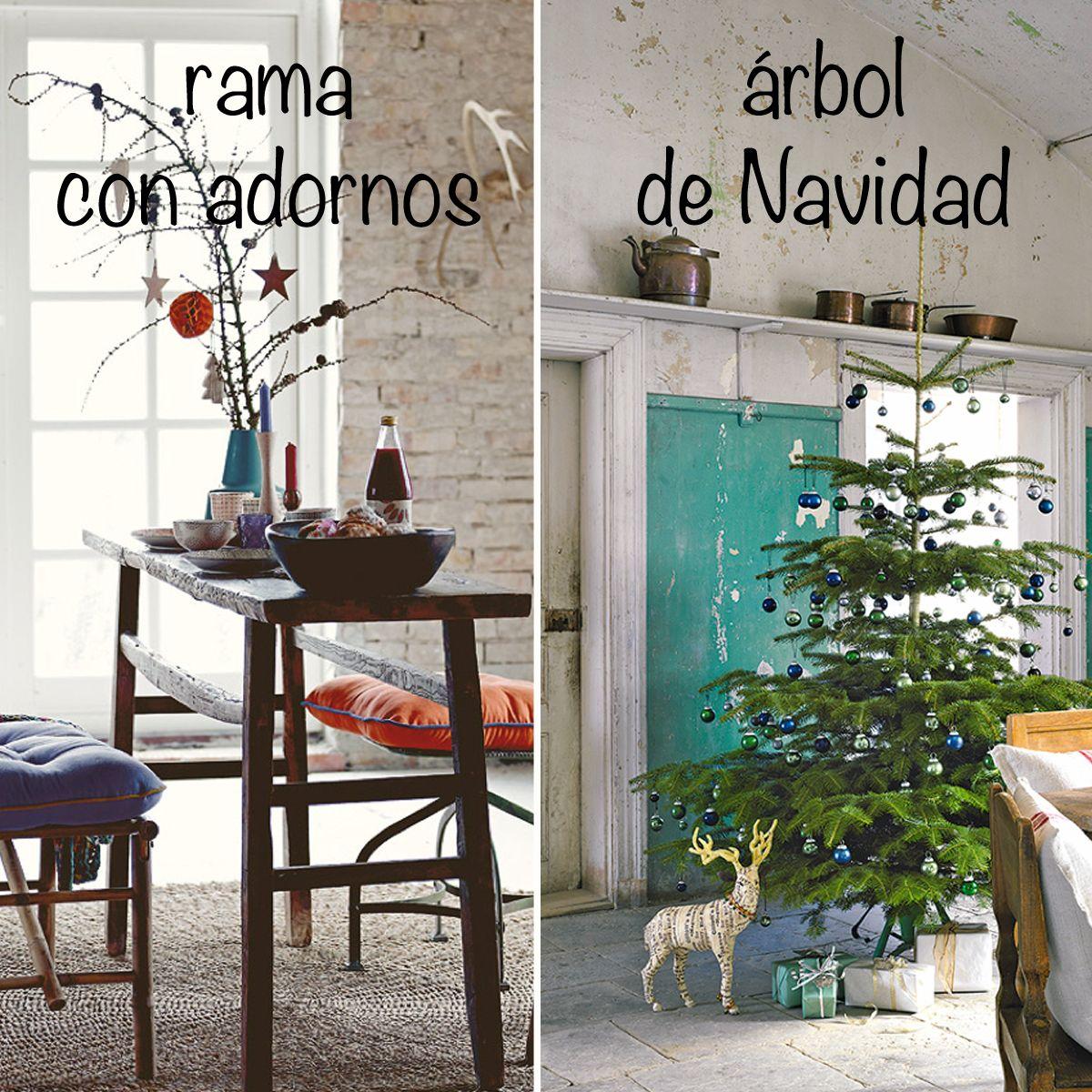 Con qu te quedas a rama con adornos de navidad b - Arbol de navidad con ramas ...