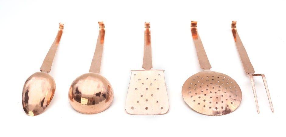 Copper kitchen utensils set by segno italiano monoqi
