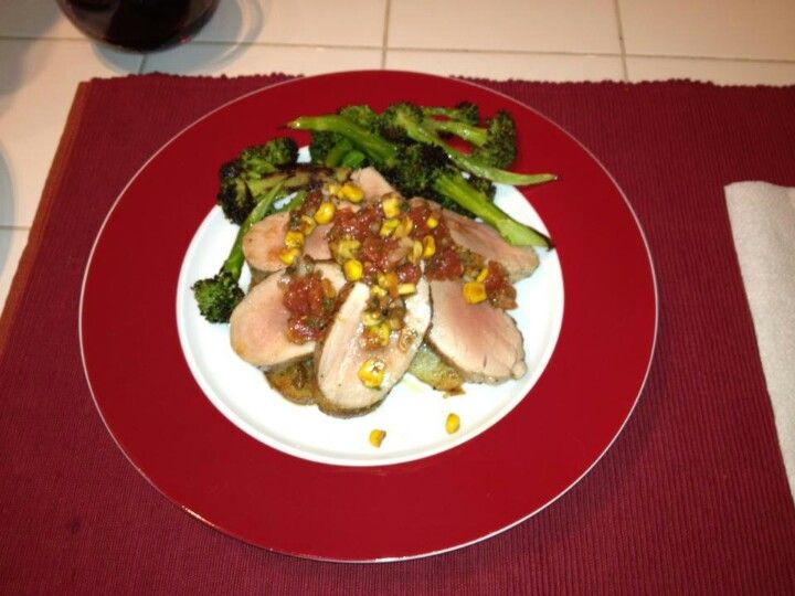 Pork tenderloin with roasted corn salsa, pan fried potatoes and roasted garlic broccoli
