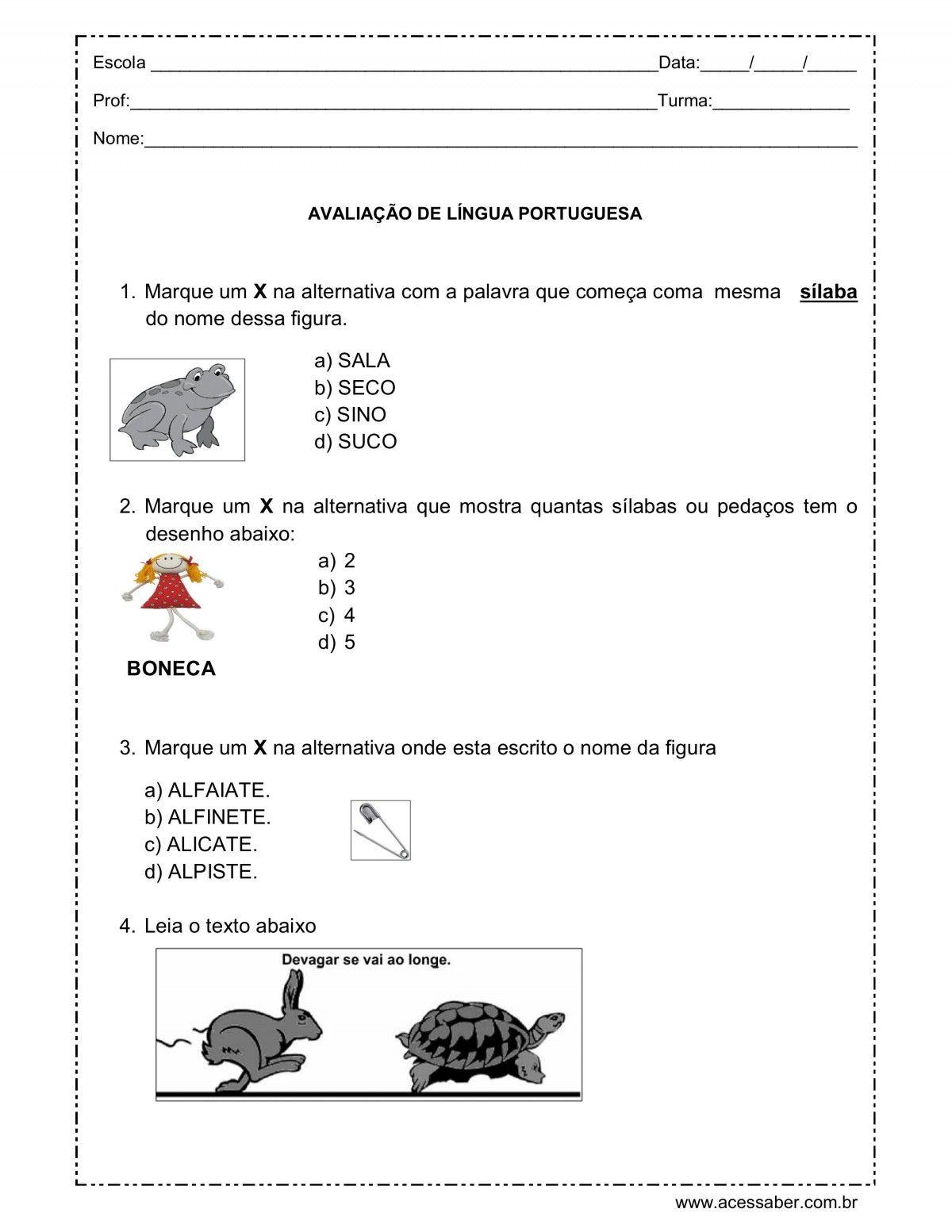 Pin Em Avaliacao Lingua Portuguesa