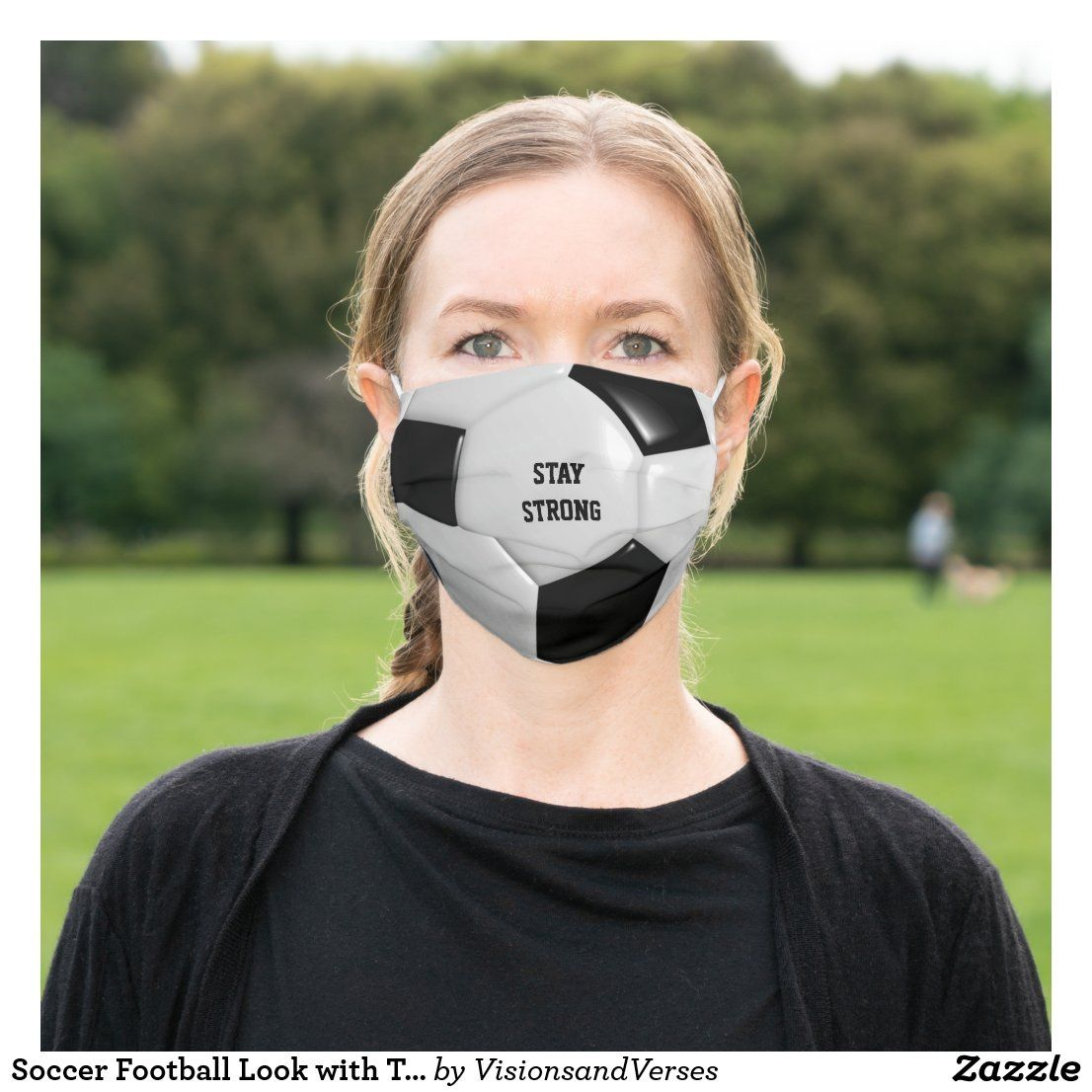 Soccer Football Look With Text Cloth Face Mask Zazzle Com In 2020 Face Mask Soccer Face