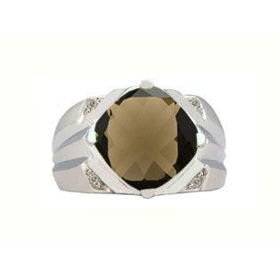 White Gold Men's Large Antique Cushion Cut Smoky Quartz Diamond Ring Available Exclusively at Gemologica.com