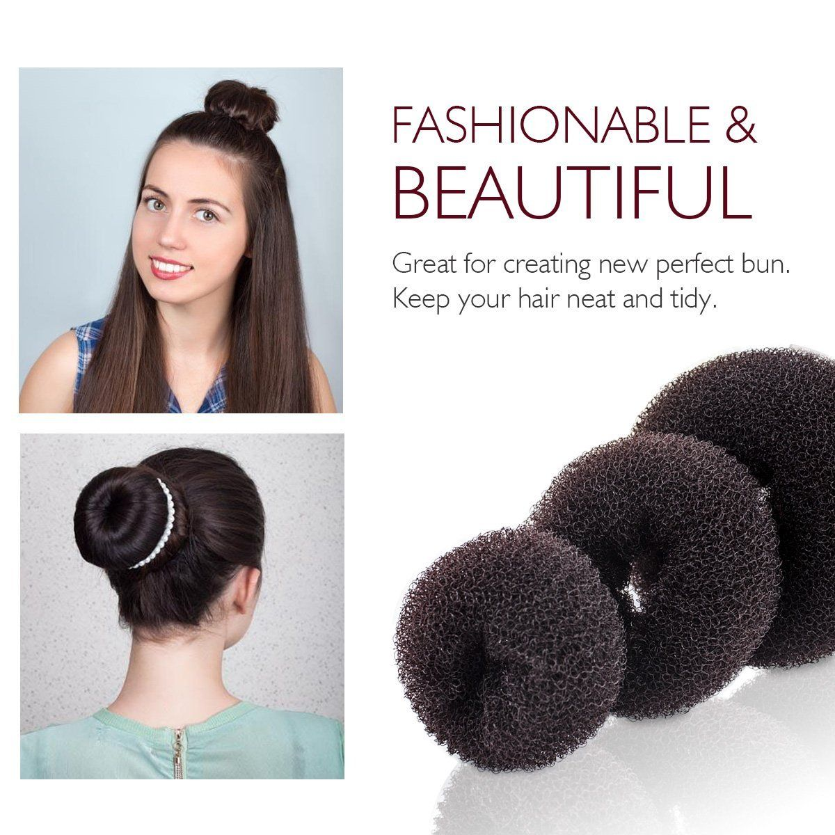 3 Pcs Magic Hair Bun Maker French Twist Donut Former Ring Round Buns Hairstyle Tools Diy Doughnuts Chignon Shaper Ha Hair Bun Maker Bun Hairstyles French Twist