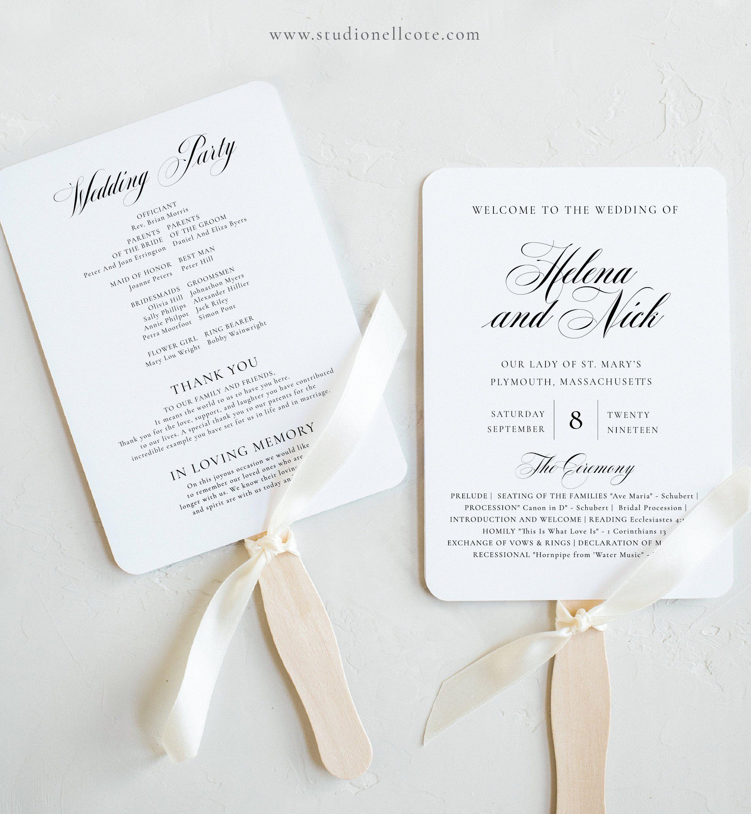 Wedding Program Fan Ceremony Program Fan Order Of Service Calligraphy Fan Program 100 Editable Te Wedding Program Fans Printable Wedding Programs Wedding Fans