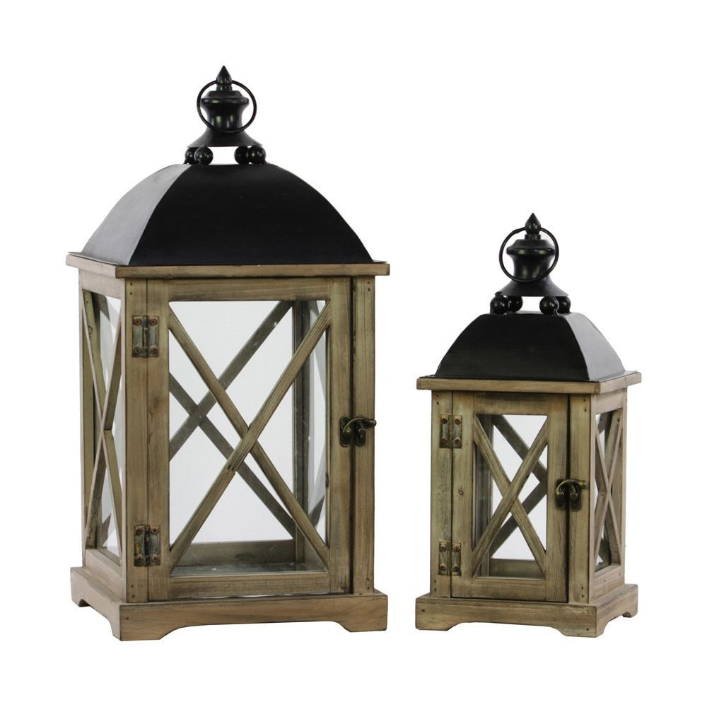 Urban Trends Collection Natural Wood Finish Cast Iron Top Wooden Lantern with Metal (Grey) Handle and Glass Sides (Set of 2)