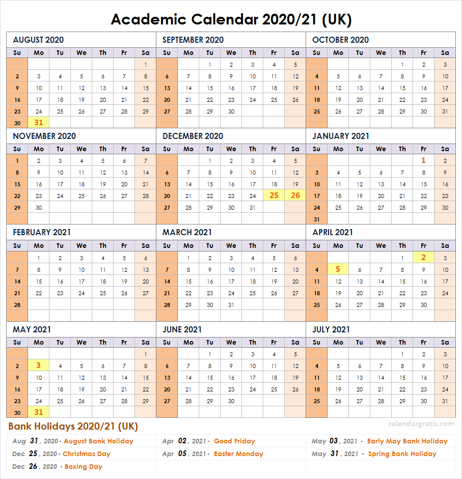 School Calendar For 2021 2020 2021 School Calendar Template | Academic Calendar 2020/21 in