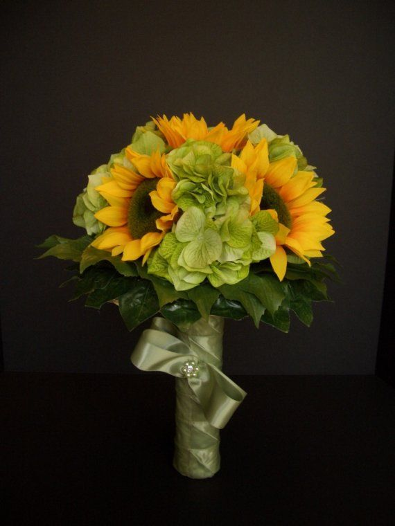 Sunflower Wedding Bouquet Hydrangea And Sunflowers Fall Woodland Flowers Rustic Decoration FFT Original Made To Order