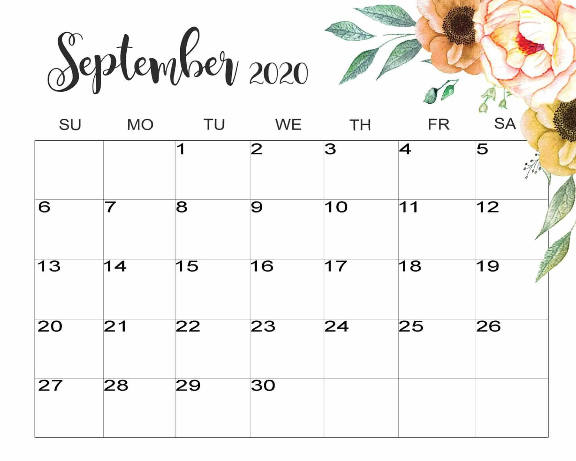 Decorative September 2020 Calendar in 2020 | Calendar ...