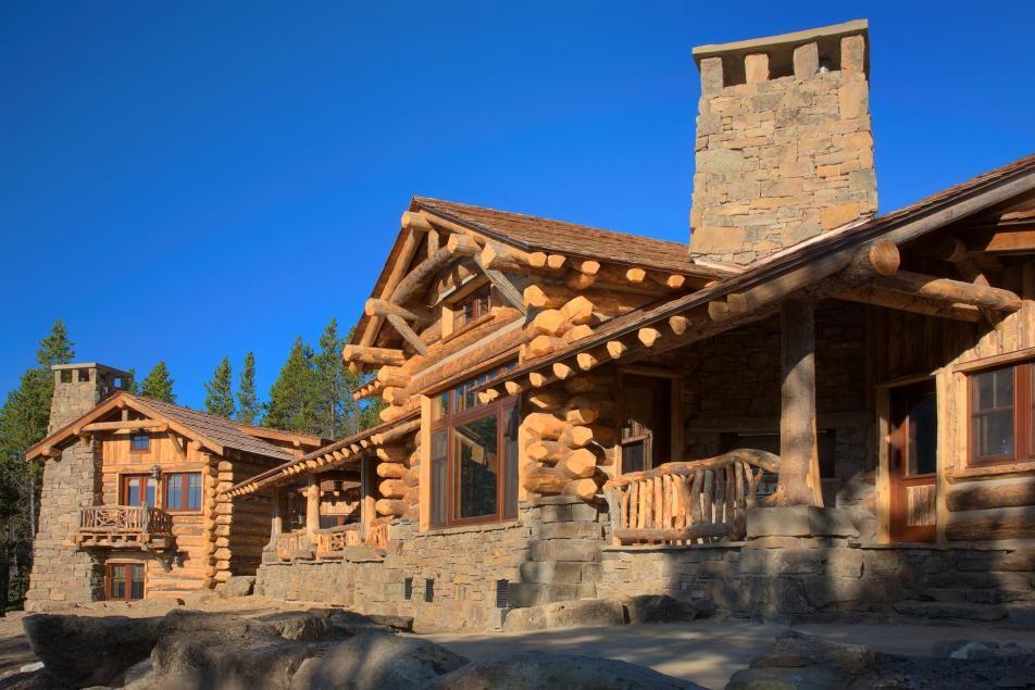 Big sky montana log home retreat house mountain custom for Custom home builders wyoming