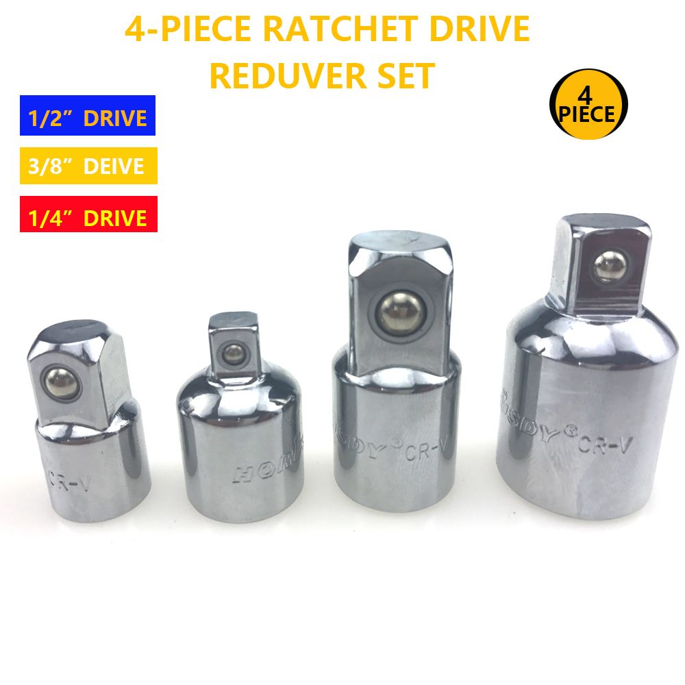 4pcs Ratchet Driver Reducer Set Socket Fittings Multi Function Ratchet Universal Connector Convert Fitting Tools Adaptor AD1039