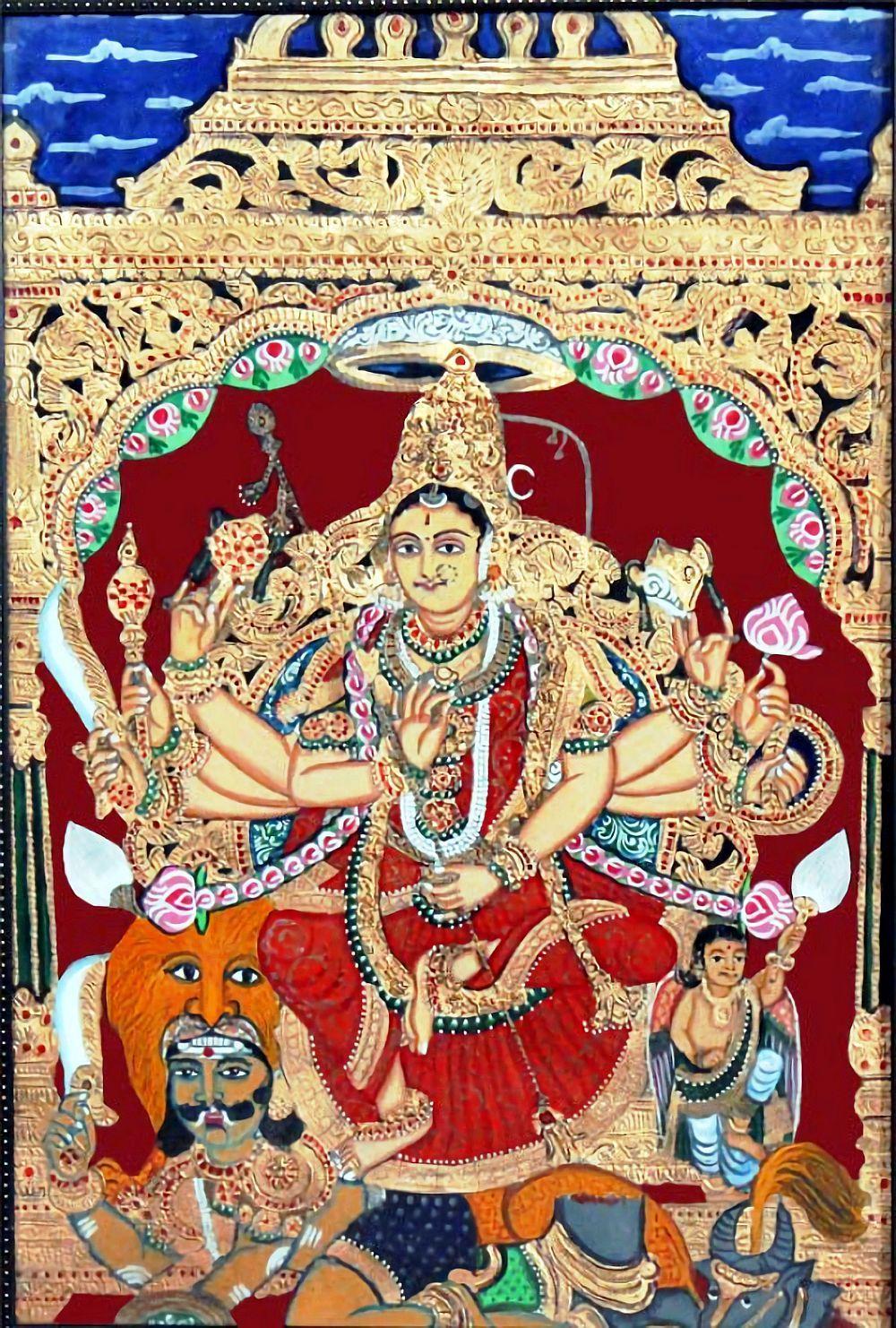Goddess Chamundi (via Tanjore painting