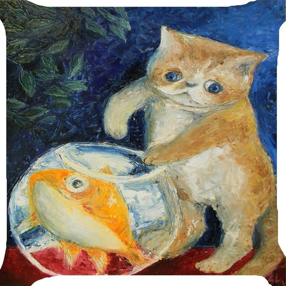 Cat kitten fish bowl funny kitty pet 2 side pillow cushion