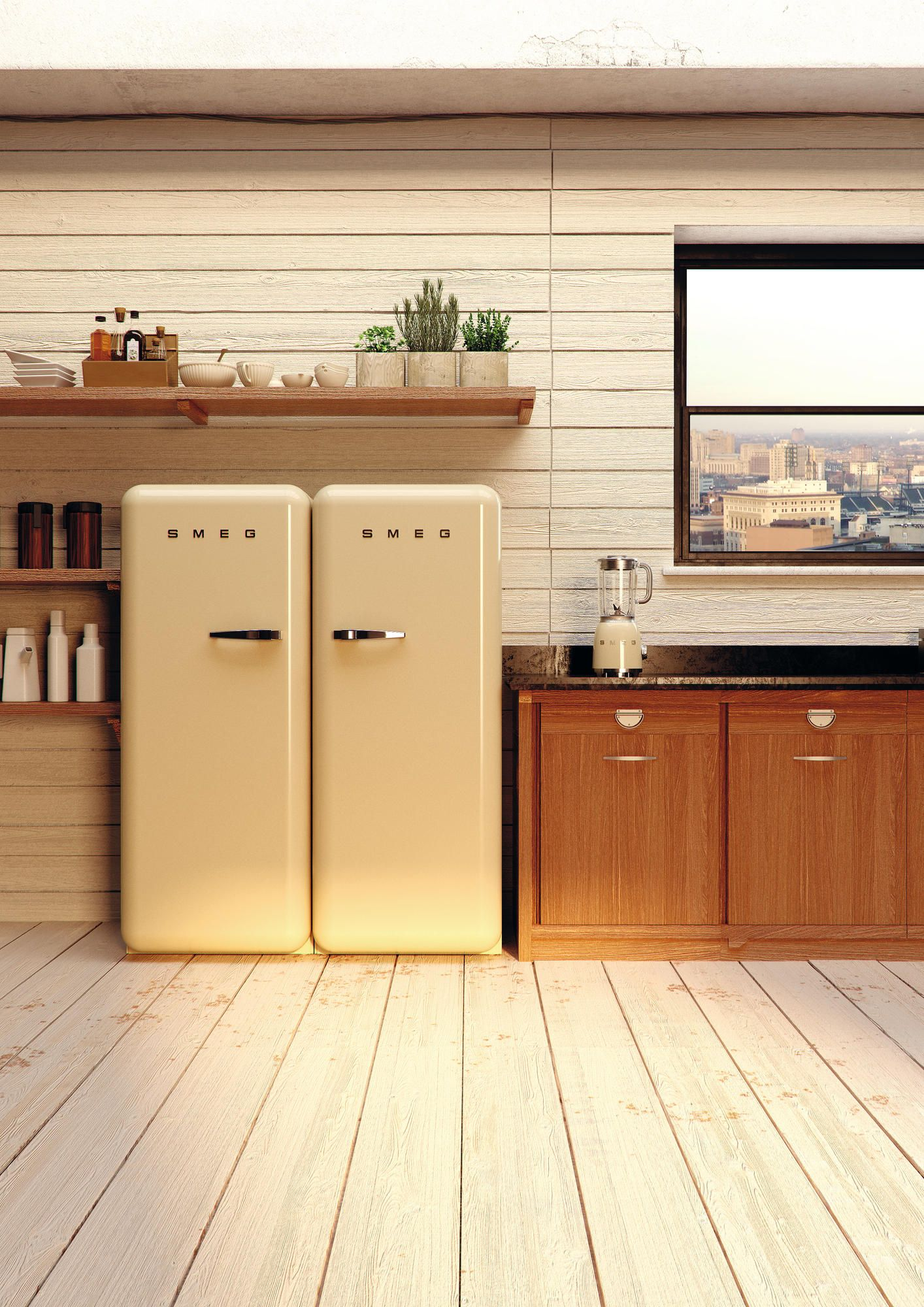 retro side by side fridge and freezer from smeg a stunning focal