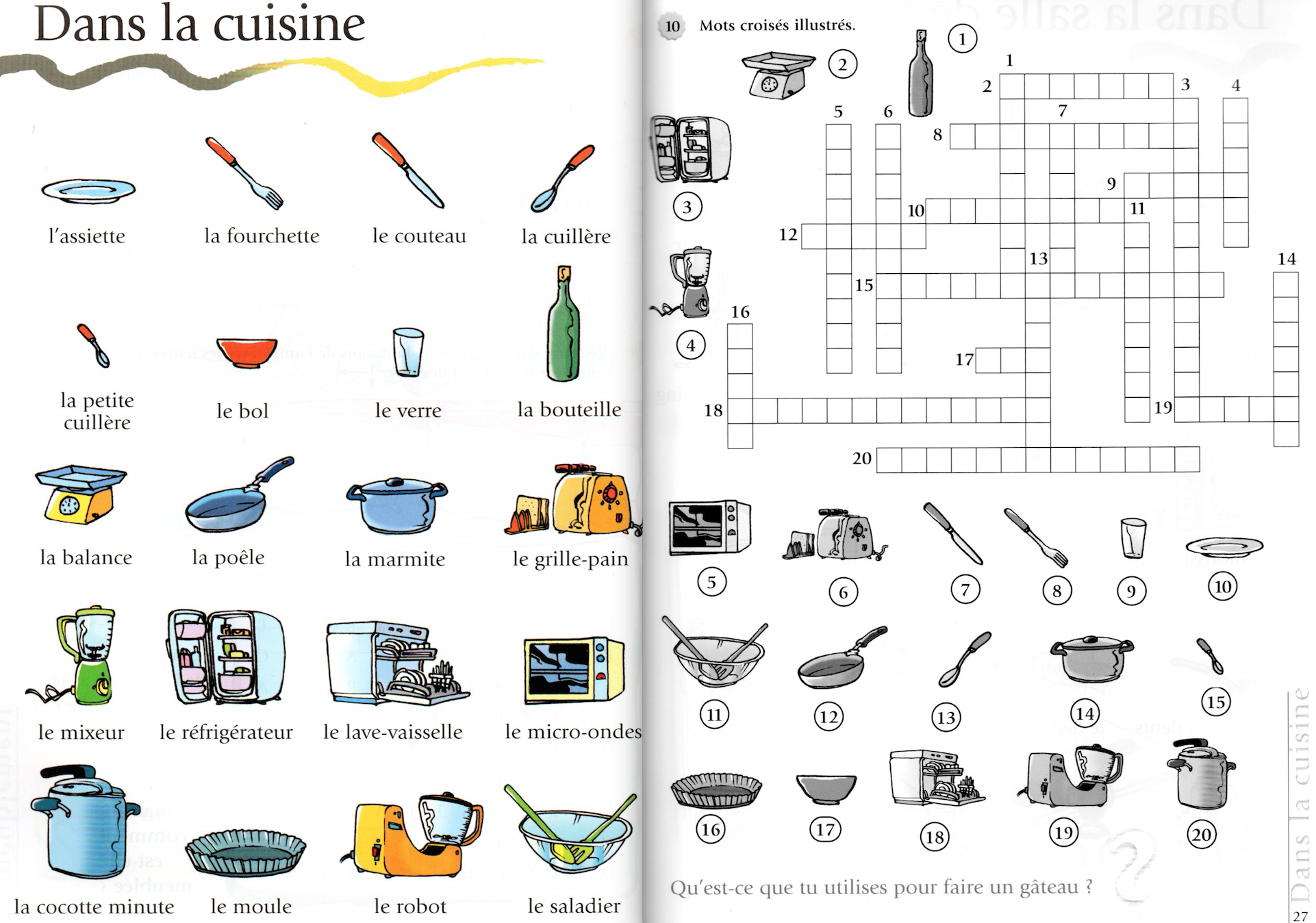 Mots crois s de la cuisine a1 le fran ais de jeu s Ustensiles de cuisine liste avec photos