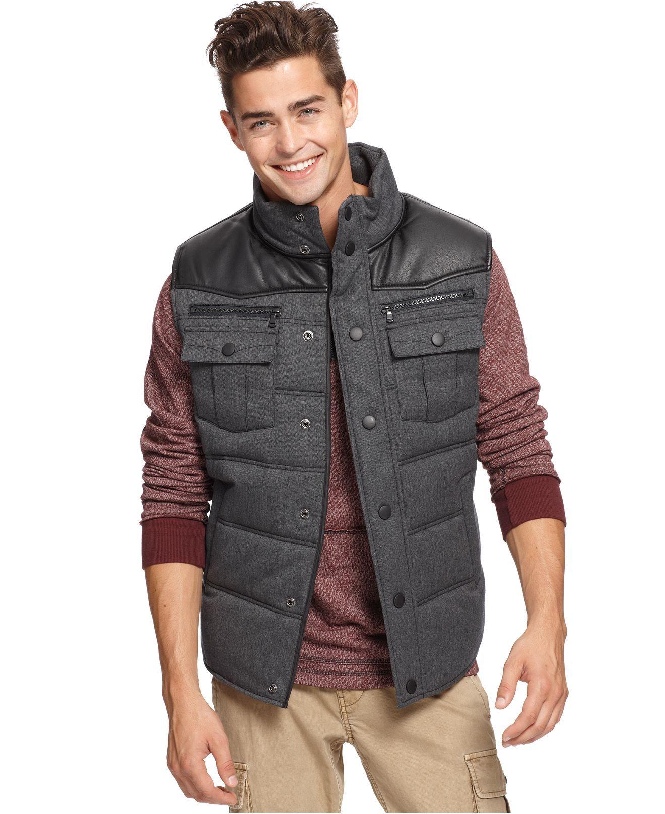 Bar Iii Vest Mixed Media Puffer Mens Coats Jackets Macy S