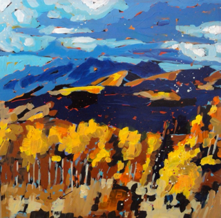 """Rolling Clouds Over Empire by Carole Wade. Acrylic on panel, 20""""x20"""", $1175"""
