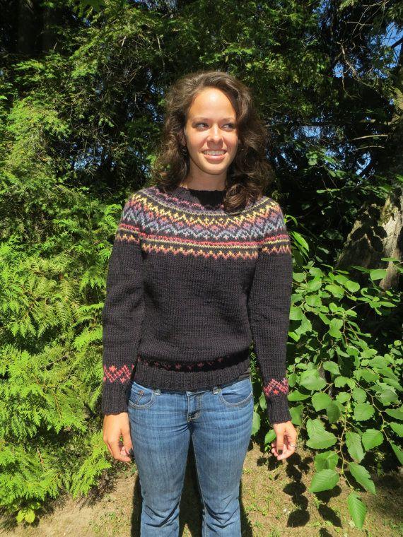 Woman's handknit black fair isle sweater in wool. by Jesoroknits ...