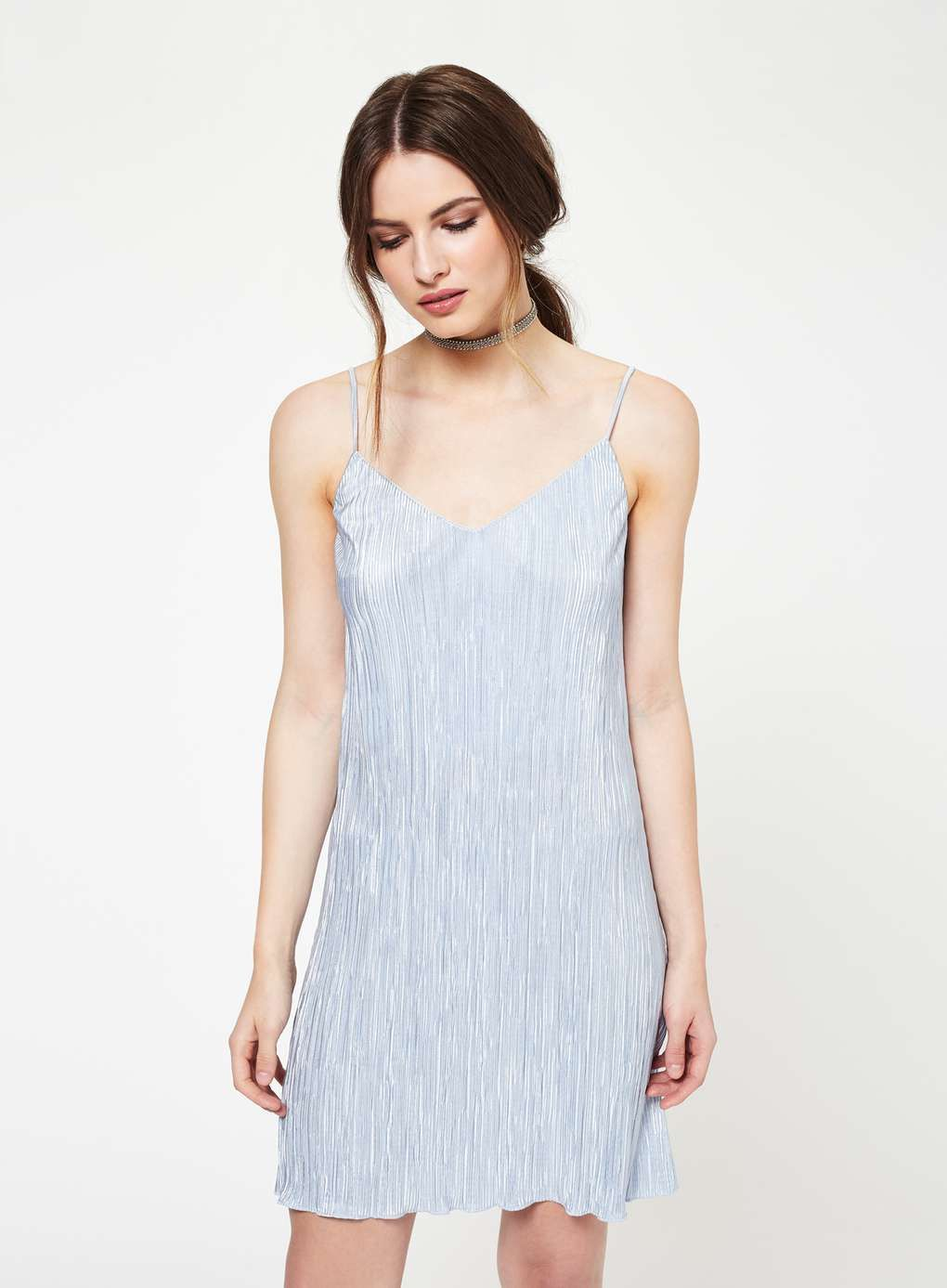 Blue Shimmer Plisse Slip Dress  4a02d526e