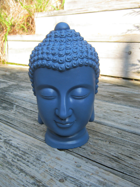 Choice Of Blue Or Black This Serene Buddha Head Would Look Wonderful In Any  Outdoor Living Space, Whether Placed Against A Backdrop Of