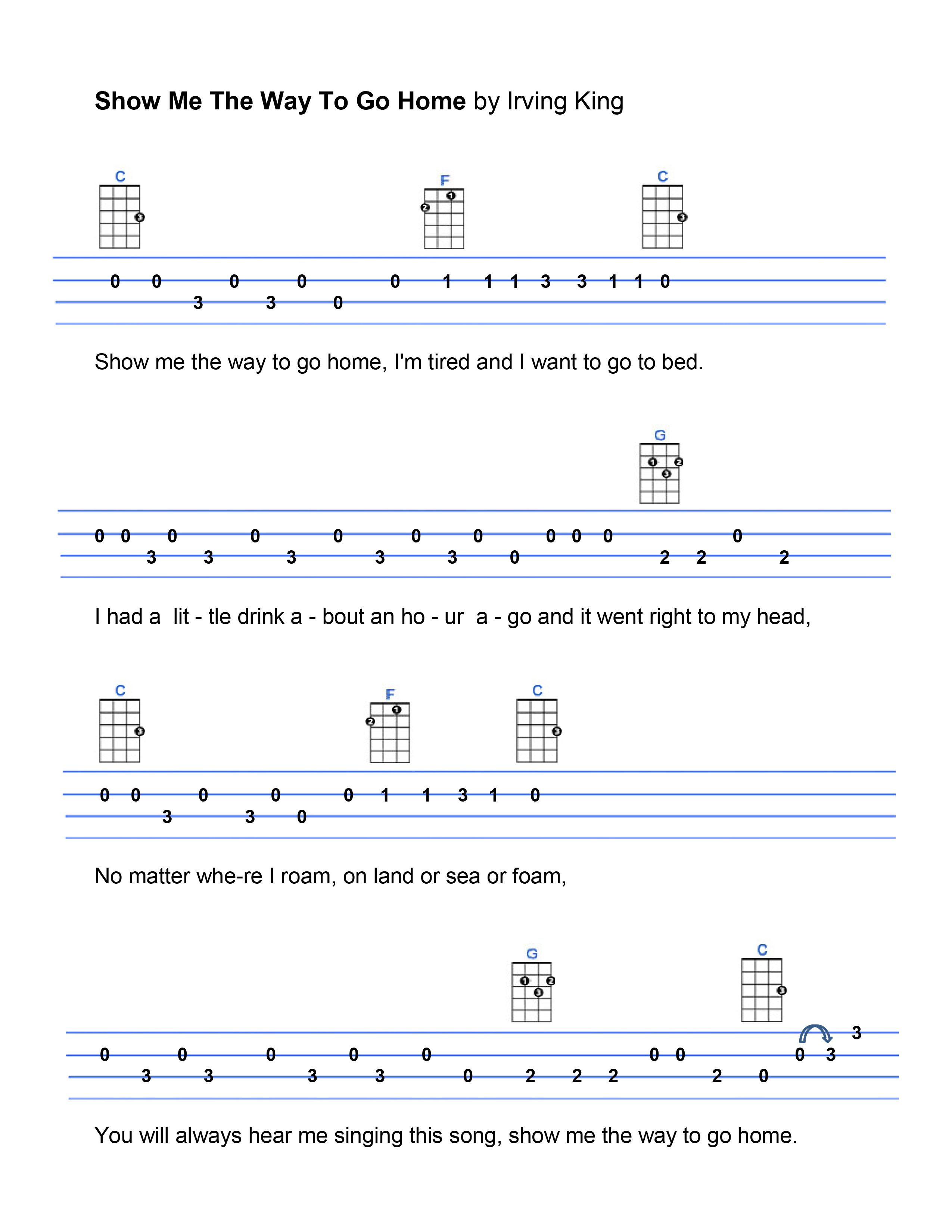 Show Me The Way To Go Home | Ukulele Tabs in 2018 | Pinterest ...