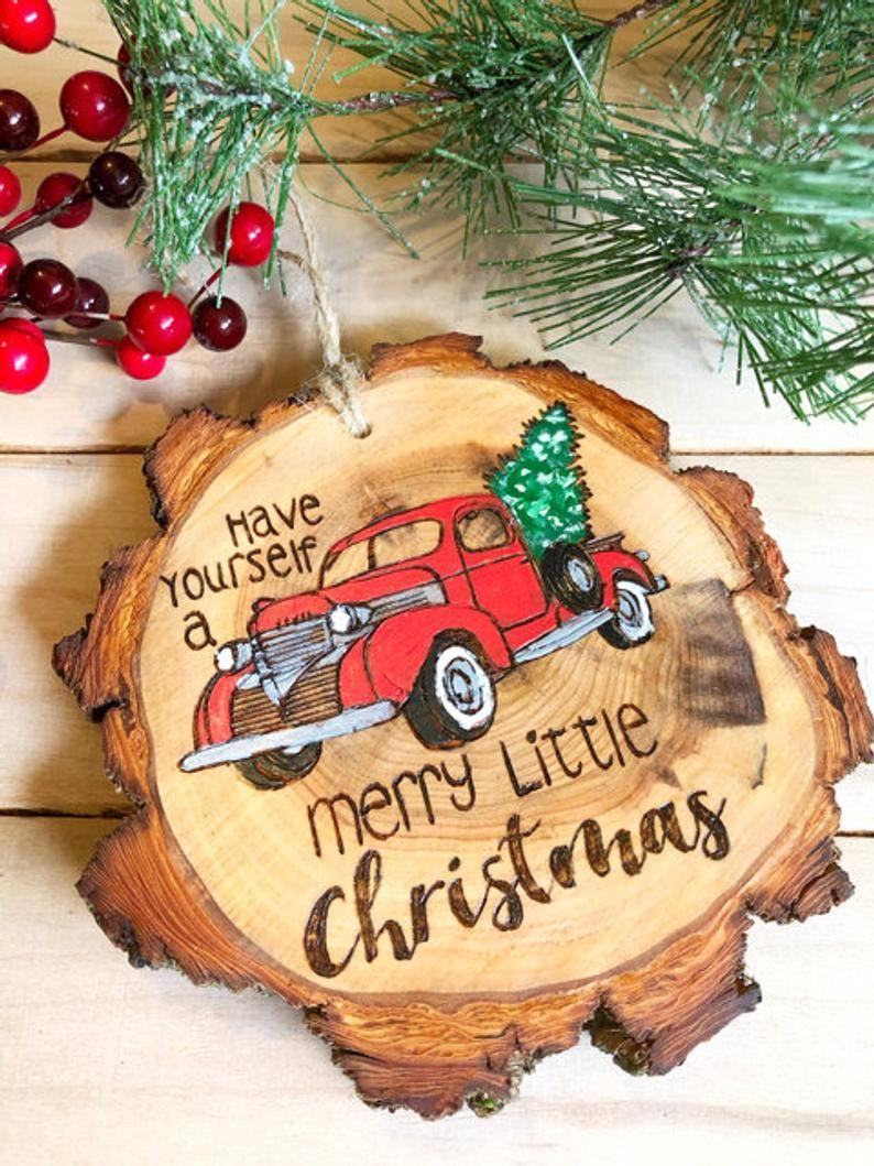 Large Wood Slice Christmas Ornaments Personalized Wood Burned Etsy Christmas Ornaments Custom Christmas Ornaments Large Wood Slices