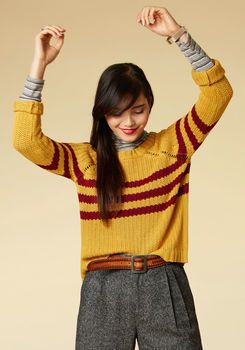 Mind Over Alma Mater Striped Sweater in Marigold