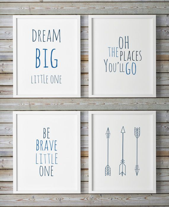 Oh The Places You Ll Go Dream Little One Printable Nursery Gallery Wall Art Blue Set Of 4 Be