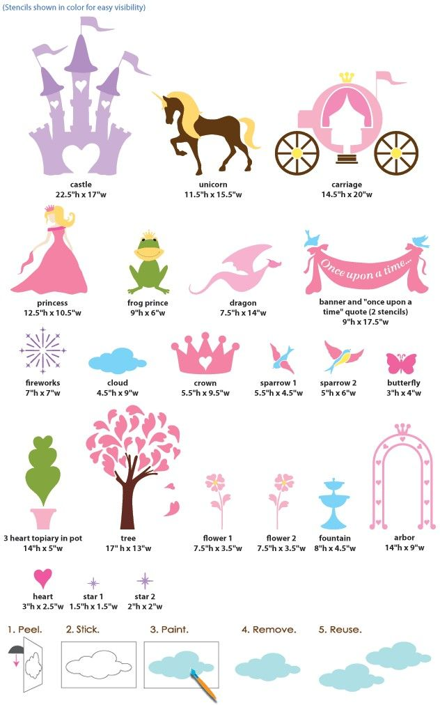 Princess Wall Stencils for Girls Room Wall Mural Kit, 23 ...
