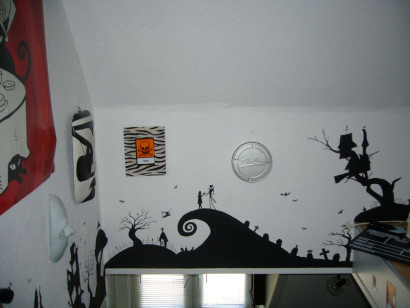 nightmare before christmas wall painting home decor. Black Bedroom Furniture Sets. Home Design Ideas