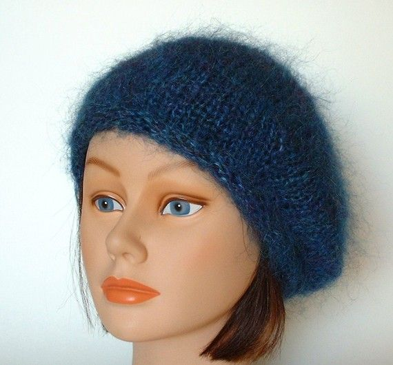 3fa0102259fe9 Items similar to Teal English Mohair Beret Cap Tam Handknit by Lynne on Etsy