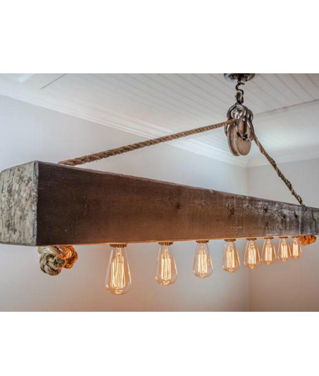 Rustic Lighting Rope Pendant Light Rope Light Wood Beam: Rustic Wood Beam Chandelier With Edison Bulbs, Rope