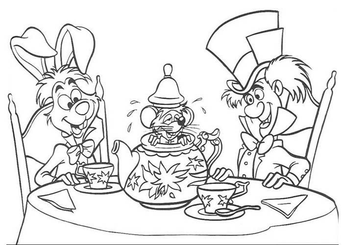 Alice in wonderland march hare hatter and mouse colouring pages