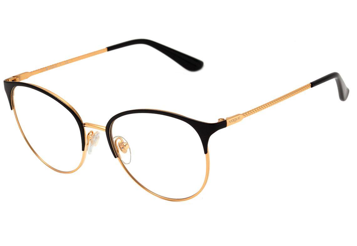 Oculos De Grau Vogue Vo 4108 280 Preto E Dourado Brilho Lente 5 1